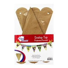 """Decorate for your next baby shower, bridal shower, or birthday party with this Scallop Top Chipboard Pennant! Just customize it to fit your personal style using paint, glitter, stickers, ribbon and more!    Each package contains 1 pennant with 9 extra heavy chipboards.    Dimensions:      Length: 9""""    Width: 6"""""""