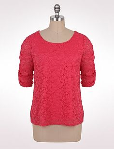 Plus Size Ruched Sleeve Floral Lace Top   Dressbarn