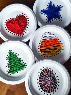 Kids paper plate string art for every holiday | My Silly Squirts