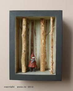 Little Red DIORAMA. Would be neat to make ones for other fairy tales. I absolutely love Grimm fairytales. by emily Little Red DIORAMA. Would be neat to make ones for other fairy tales. I absolutely love Grimm fairytales. by emily Diy Artwork, Artwork Pictures, Artwork Design, Artwork Ideas, Shadow Box Kunst, Shadow Box Art, Art Altéré, Art 3d, Paper Art Projects