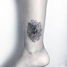 Fawn tattoo above the ankle. Tattoo artist: Eva... - Little Tattoos for Men and Women