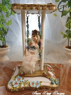 One of  Kind Gorgeous Ornate Doll Swing for by ShariDeppDesigns, $45.00