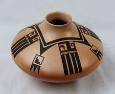 Native American, Vintage Hopi Poly Chrome Pottery Jar, by Fawn Garcia Navasie, Ca Native American Pottery, Native American Art, Fire Pots, Styling Brush, Pueblo Pottery, Bright Background, Matte Red, Gourd Art, Pottery Painting