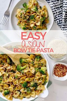 A pasta salad made in less than 15 minutes! Its perfect for dinner, a quick snack or for lunch boxes, cold! This Asian Bow Tie Pasta recipe is also great for potlucks because its easy to make. Light Pasta Recipes, Pasta Recipes For Kids, Potluck Recipes, Easy Summer Meals, Easy Meals For Kids, Easy Weeknight Dinners, Summer Recipes, Asian Recipes, Healthy Recipes