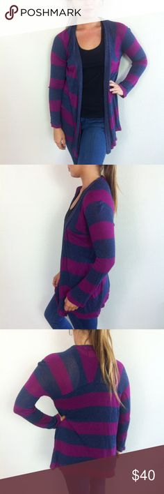 Splendid Striped Rugby Open Front Cardigan Size medium 100% rayon in great condition 29 inch length Splendid Sweaters Cardigans