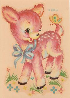 Vintage Meyercord Decals Sweet Pink Deer Fawn Baby Nursery Decor