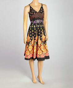 Look what I found on #zulily! Black & Orange Abstract Sleeveless Dress by California Women #zulilyfinds