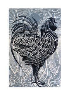 Grey Cockerel linocut print by Mangle Prints, via Flickr