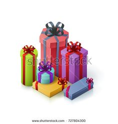 Gift boxes with bows and ribbons. Isometric illustration on white background. 3D realistic icons. Vector