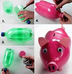 DIY plastic bottle medusas – This is a very easy craft and good toy for little children. You have to use only a plastic bottle to make it. source Home made piggy bank I love this idea! This piggy bank is made of plastic bottle. Pig Crafts, Fun Diy Crafts, Recycled Crafts, Baby Crafts, Crafts For Kids, Summer Crafts, Kids Diy, Reuse Plastic Bottles, Plastic Bottle Crafts