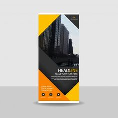 Banner roll up comercial amarillo Vector Gratis