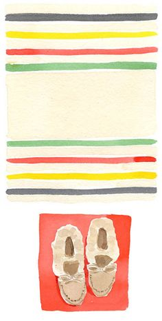 Hudson Bay blanket, L.L.Bean slippers / Caitlin McGauley