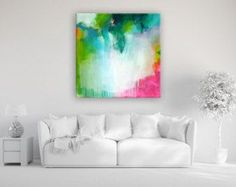 Original large XXL abstract painting, abstract art, modern painting, turquoise magenta apple green, paintings, acrylic painting on canvas