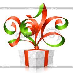 Вектор Красная лента и подарочной коробке. Символ Нового года 2016 | Векторный клипарт | ID 5354158