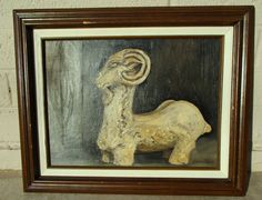 Mid Century Oil Painting Chinese Tang Ram Vintage by retrosideshow