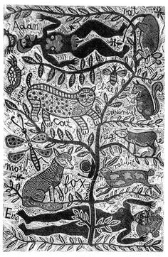 Artist: HANRAHAN, Barbara | Title: Adam and Eve | Date: 1977 | Technique: wood-engraving, printed in black ink, from one block |
