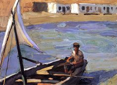Boat with Sail (Panormos-Tinos), Nikolaos Lytras | Canvas, brush effect, oil paintings, poster and framing by artivity