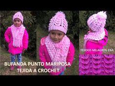 Gorro Punto Mariposa Tejido a Crochet o ganchillo paso a paso para niñas - TODAS LAS TALLAS - YouTube