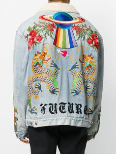Gucci Shearling Lined Denim Jacket With Embroidery - Farfetch