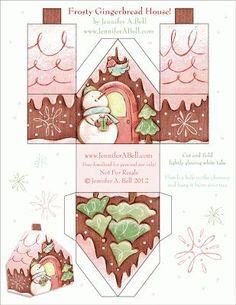 Free printable paper houses for Christmas - freebie Christmas Gingerbread, Noel Christmas, Christmas Paper, All Things Christmas, Gingerbread Houses, Gingerbread Cookies, Origami Christmas, Putz Houses, Christmas Ideas