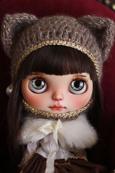 Blythe's size kitty hat by RanSilentNight on Etsy