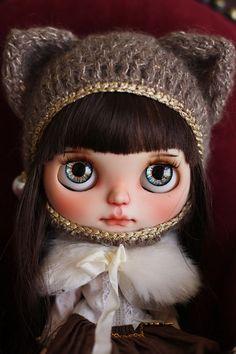 Blythe's size kitty hat by RanSilentNight on Etsy