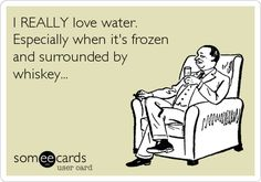 I REALLY love water. Especially when it's frozen and surrounded by whiskey. Bourbon Quotes, Whiskey Quotes, Whiskey Meme, Whiskey Girl, Funny Memes, Hilarious, Lovers Quotes, E Cards, Plexus Products