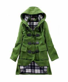 CHAREX Women's Woolen Hooded Horn Button Trench Coat