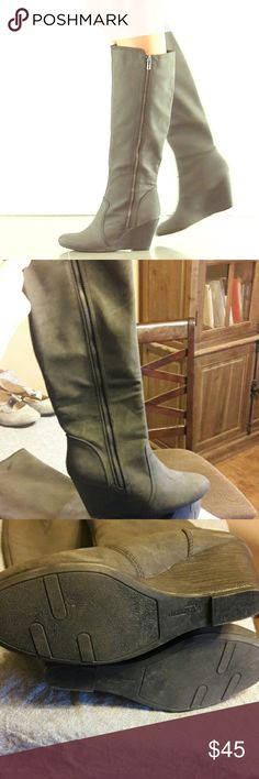 Fergalicious Ornate wedge boots gray Excellent condition. Fergalicious Shoes Heeled Boots