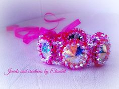 Bridal swarovski bracelet in fuschia by JewelsbyElisabet on Etsy, $750.00