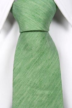 Linen Necktie - Tones of green mixed with white - Notch ELWOOD