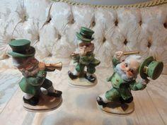 Lefton St. Patricks Irish Leprechaun Musical figurines set (3) #6203