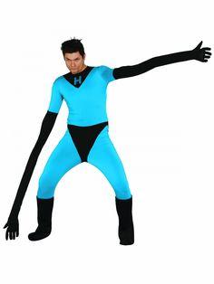 Disfraz hombre elástico adulto: Este disfraz de hombre elástico para adulto es un traje con partes hinchables.El traje se lleva ajustado y es azul y negro.Se cierra en la espalda con cremallera.Hay dos partes hinchables para...