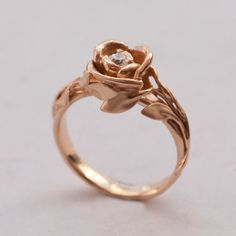 Rose Engagement Ring - Gold White and Diamond engagement ring, engagement, leaf ring, flower ring, game of thrones jewelry Art Nouveau, 1 Rose, Rose Gold Engagement Ring, White Gold Rings, Just For You, Bling, Boho, Vintage, Leaf Ring