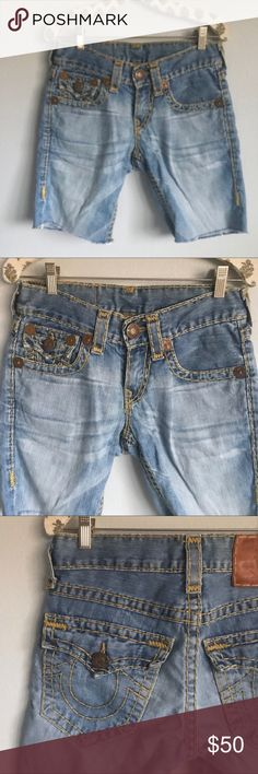 ✨CLASSIC✨ TRUE RELIGION Jean Shorts I'm excited to offer these TRUE RELIGION jean shorts in my closet!!!! The color is fab and the stitching is high quality! You can't miss this iconic style! Can be worn as Bermuda style long shorts or rolled up for a completely different look! So cute and goes with T-shirt's, tanks, jackets, sweaters and more!! True Religion Shorts Jean Shorts