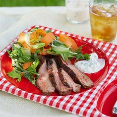 Buffalo-Spiced Steak Salads with Blue Cheese Dressing Diabetic Recipes, Healthy Recipes, Diet Center, Blue Cheese Dressing, Steak Salad, Kinds Of Salad, Eating Well, Salad Recipes, Meal Planning