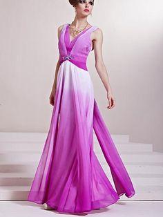 Graceful Graceful Color Matched V-Neck Floor-Length Evening Dresses  http://paradiseinternetmall.net/