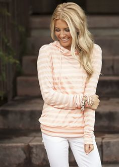 Striped and Hooded Top Peach - Modern Vintage Boutique