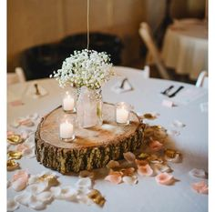 Baby's Breathe, candle votives, glass jars/mason jars, and wood base. The string can even me a balloon with either table number or metallic color to blend the theme together.