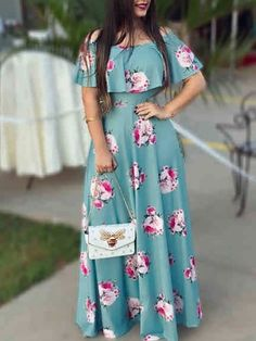 Shop Floral Print Flounce Ruched Maxi Dress right now, get great deals at Chiquedoll Indian Gowns Dresses, Indian Fashion Dresses, Evening Dresses, Fashion Outfits, Dress Fashion, Afternoon Dresses, Flapper Dresses, Emo Fashion, Fashion Trends