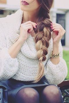 Tendance : Coiffure : Thick Voluminous three strand braid created with Dirty Blonde Luxy Hair Extensio