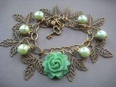 Mint Green Rose Bracelet  Rose Jewelry  by SilverTrumpetJewelry, $35.00