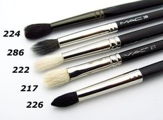 217 - Favorite MAC brushes - my must haves for blending 8)... 217 and 224 are terrific blending brushes. 226 is awesome for applying color perfectly in the crease especially when you are applying product on someone else. Works well on most eye shapes. Good brushes to own if you do a lot of freelance.