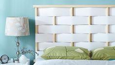 Cabeceros de cama originales para hacer con tiras entrelazadas 11