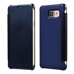 For Samsung Galaxy A3100 A5100 A7100 PC View Windows Ultra Thin Flip Case Luxury Clear Mirror Cover Bag For Galaxy A3 A5 A7 2016