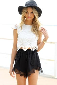 Cream Mini Cap Sleeve Crop Top with Crochet Overlay