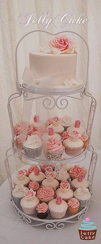 Dusky Pink Wedding Cupcake Tower