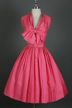 vintage 1950s watermelon pink dress l the big bow, the nipped-in waist, the full skirt ♥