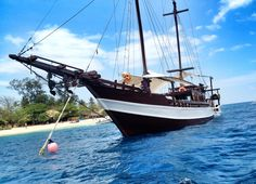 A boat use for sailing trip from Gili Trawangan to Komodo Island