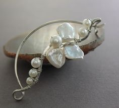 Silver shawl pin scarf pin in wavy vine design with by IngoDesign, $29.00